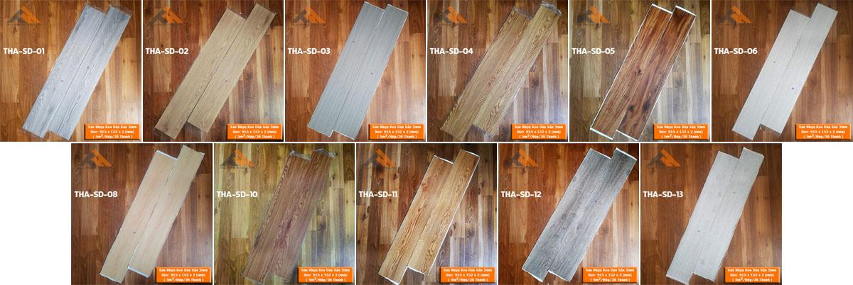 bảng màu sàn nhựa keo dán 2mm giả gỗ